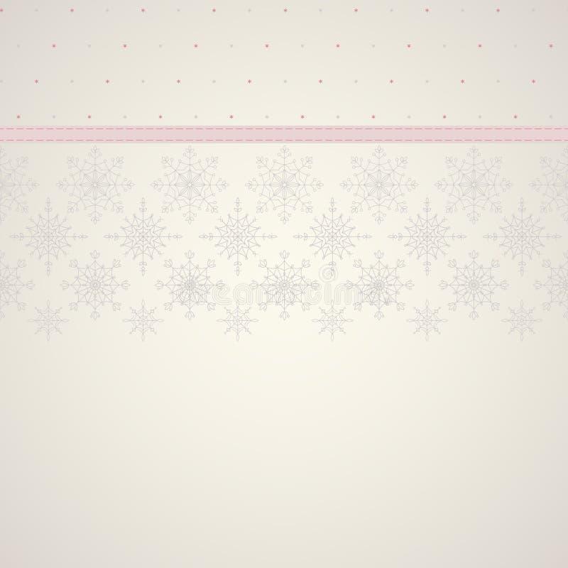 Laço dos flocos de neve e fundo sem emenda da fita da decoração. ilustração do vetor