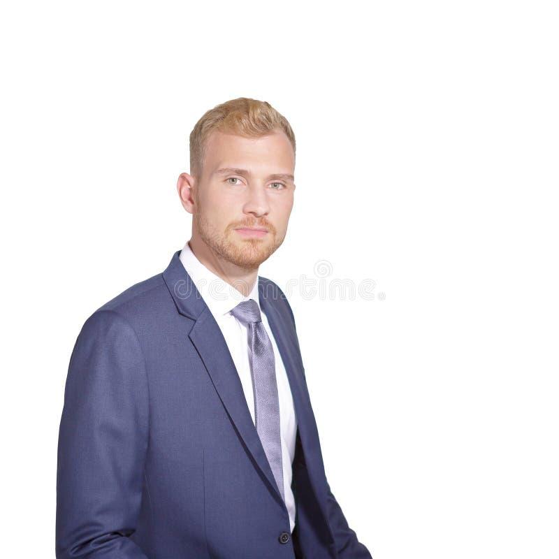 Laço louro do casaco azul do homem do retrato imagens de stock