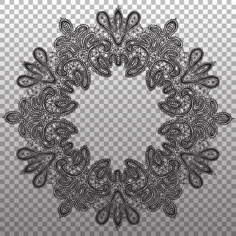 Laço redondo preto do guardanapo Textura isolada vetor do ornamento ilustração do vetor