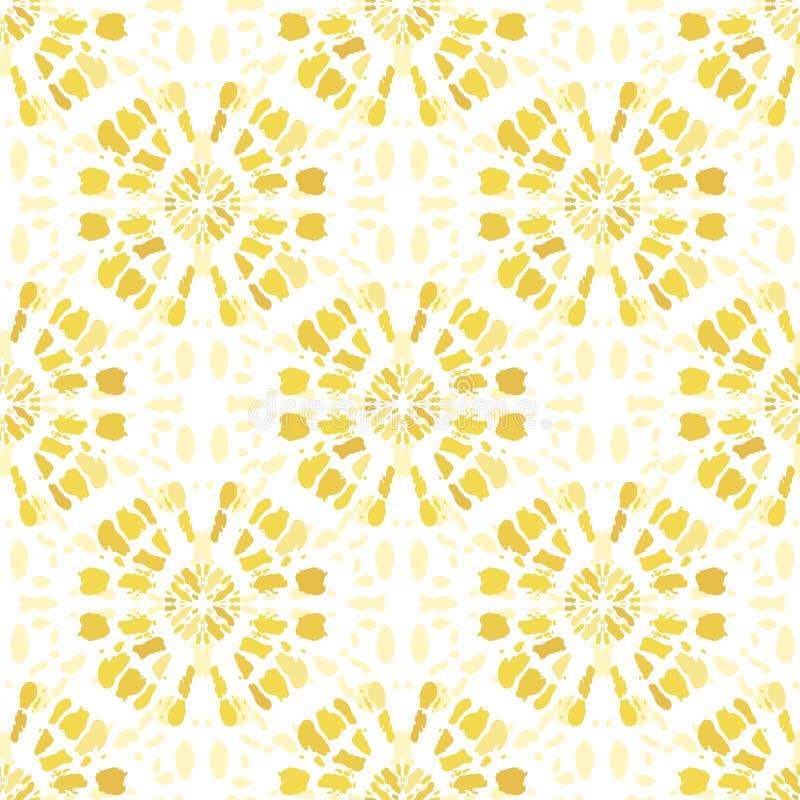 A Laço-tintura amarela monocromática Shibori de Boho espelhou Mandala Background Vetora Seamless Pattern Sunburst ilustração stock