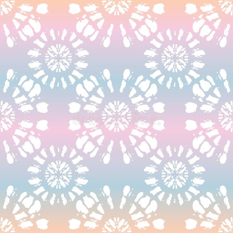A Laço-tintura branca Shibori de Boho espelhou a mandala Sunburst no teste padrão sem emenda do vetor holográfico do fundo ilustração stock