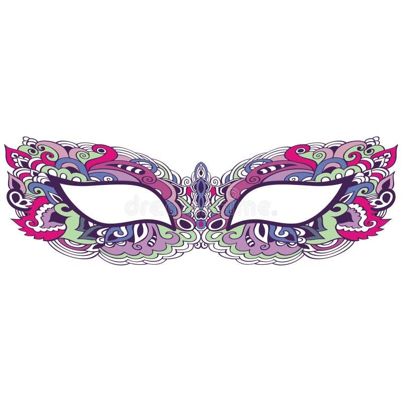 Laço venetian da máscara do carnaval do vintage bonito isolado no teste padrão branco do fundo, bordado, t-shirt na moda da cópia ilustração royalty free