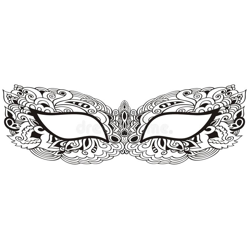 Laço venetian da máscara do carnaval do vintage bonito no teste padrão branco do fundo, bordado, t-shirt na moda da cópia ilustração do vetor