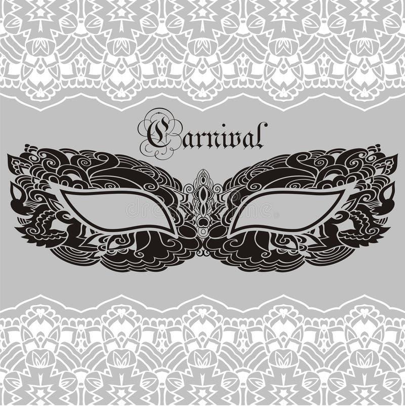 Laço venetian Mardi Gras da máscara do carnaval do vintage bonito ilustração do vetor