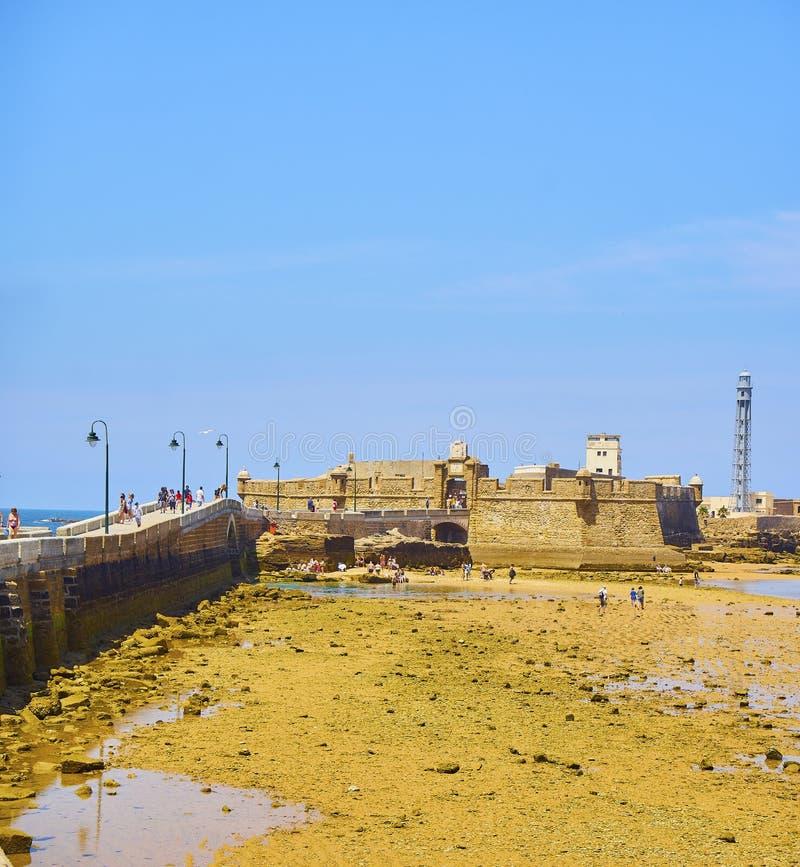 La与圣・萨巴斯蒂安城堡的Caleta海滩在背景中 卡迪士 o 免版税库存照片