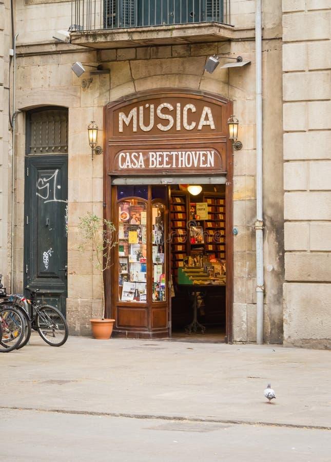 La兰布拉街道的,巴塞罗那古色古香的音乐商店 免版税库存照片
