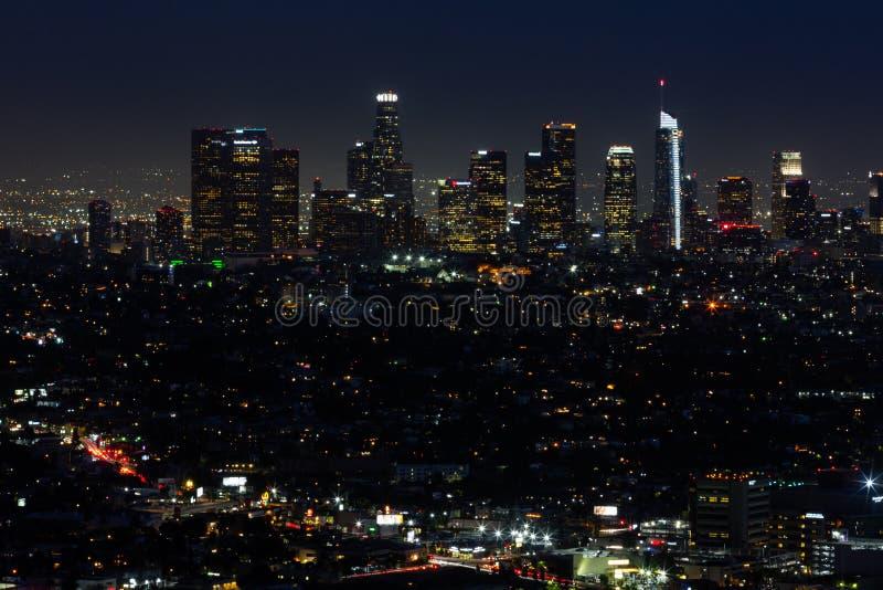 LA地平线在晚上 免版税图库摄影