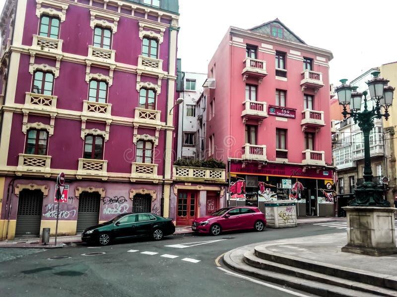 La拉科鲁尼亚队,加利西亚,西班牙的五颜六色的历史的中心 免版税库存图片