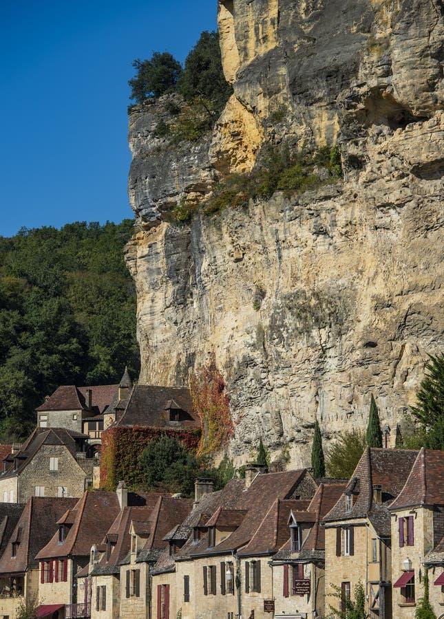 La洛克Gageac,其中一个法国的最美丽的村庄,多尔多涅省地区 免版税库存照片