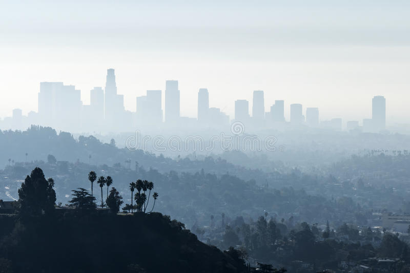 LA烟雾弥漫的雾 库存照片