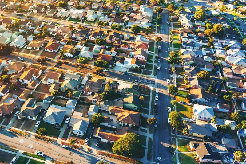 LA的住宅邻里鸟瞰图  库存图片