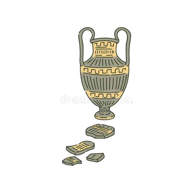 La ánfora antigua con las manijas y las astillas bosquejan estilo ilustración del vector