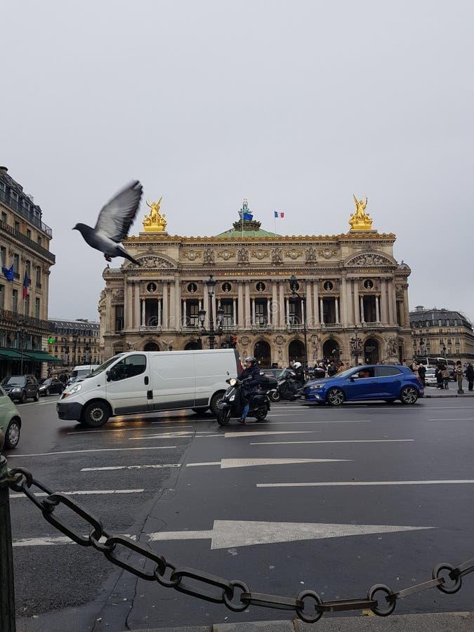 La ópera Garnier bajo la lluvia, París, Francia foto de archivo libre de regalías