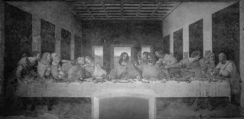 La última cena de Leonardo da Vinci en el refectorio del convento del delle Grazie, Milán de Santa Maria blanco y negro fotos de archivo