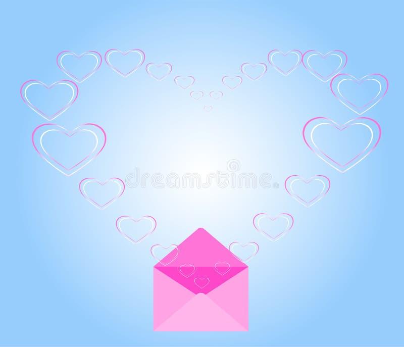 """La """"forme de coeur flottant hors de l'enveloppe dans une forme de coeur, envoient l'amour, envoient la nostalgie, lettre d'amour illustration de vecteur"""