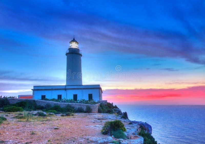 La翻车鱼在日出的海角灯塔福门特拉岛 免版税库存照片