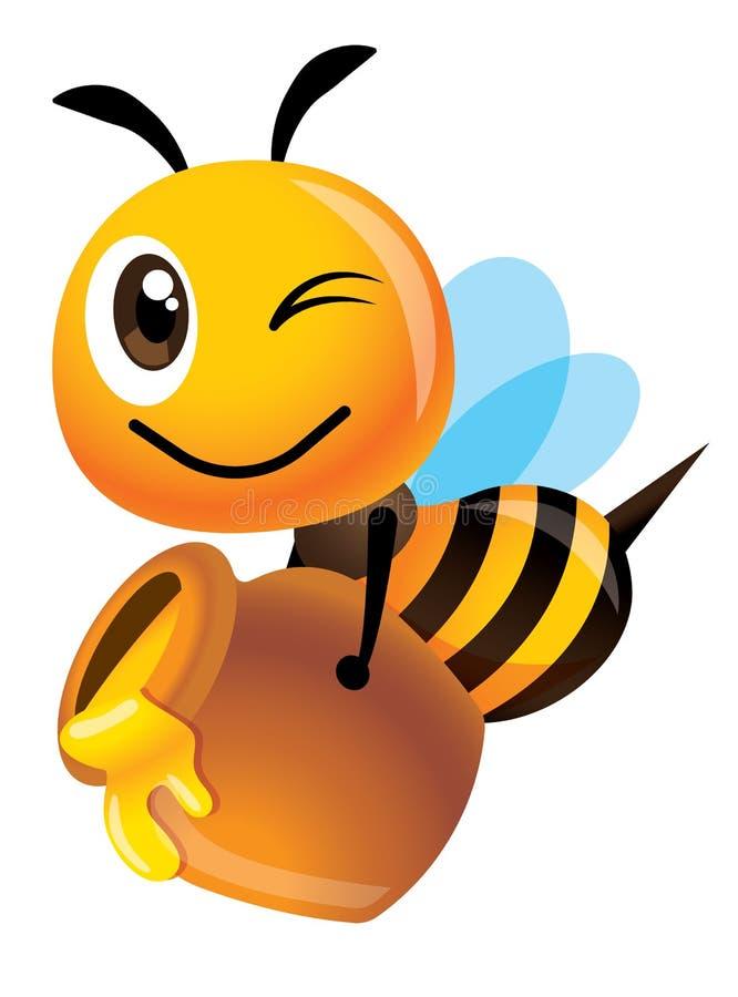 La abeja feliz linda de la historieta lleva un terraplén grande del pote de la miel con la miel orgánica fresca - ejemplo del vec ilustración del vector
