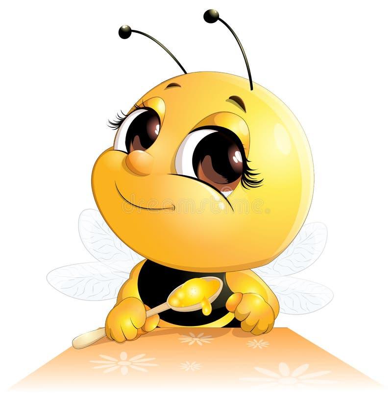 La abeja se sienta con una cuchara stock de ilustración