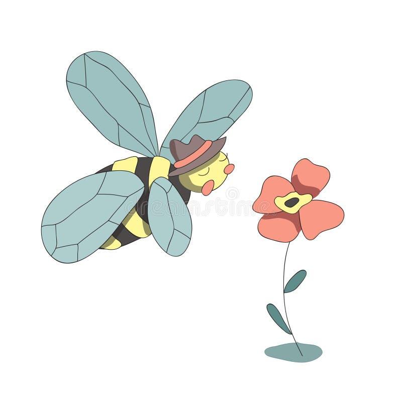 La abeja y la flor lindas, vector de la historieta aislaron el ejemplo en estilo simple libre illustration