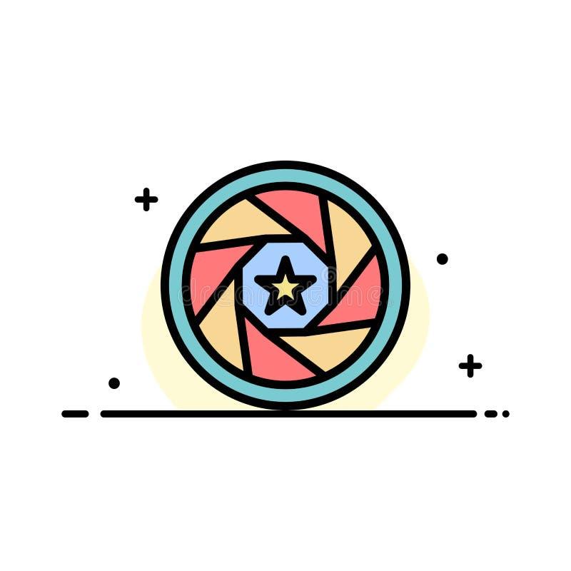 La abertura, película, logotipo, película, línea plana del negocio de la foto llenó la plantilla de la bandera del vector del ico stock de ilustración