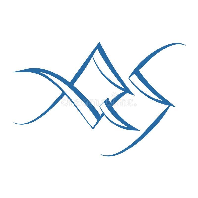 La abreviatura QS para su compañía Fuente gótica angular Vecto ilustración del vector