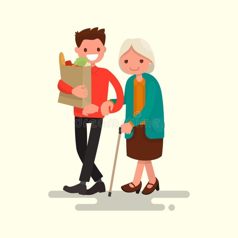 La abuela de ayuda voluntaria lleva productos Vector Illustratio libre illustration