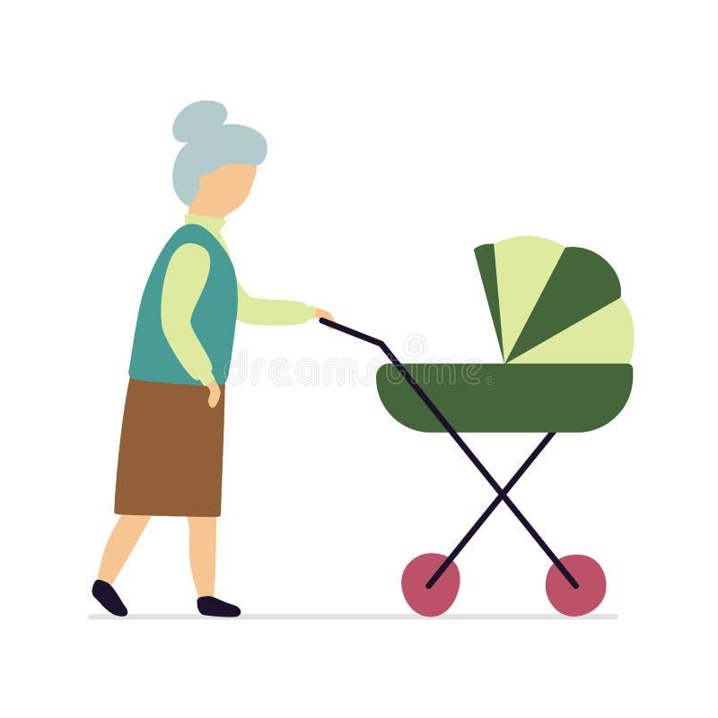 La abuela está caminando con un cochecito Vector stock de ilustración