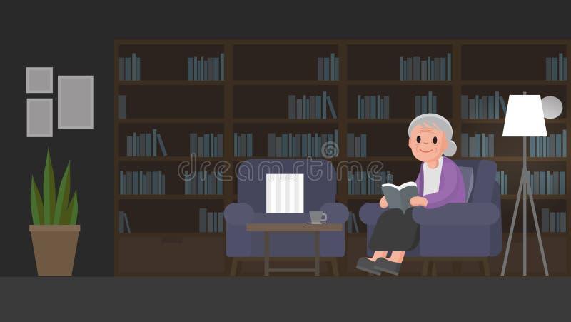 La abuela está leyendo un libro en sitio de estudio La mujer mayor se sienta en un sofá en sitio de estudio ilustración del vector
