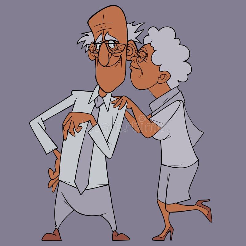 La abuela feliz de la historieta en amor abraza a un abuelo contento libre illustration