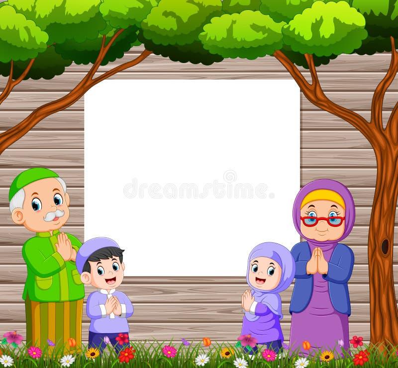 la abuela y el abuelo con su nieto están dando el saludo de Mubarak ied cerca del tablero en blanco stock de ilustración