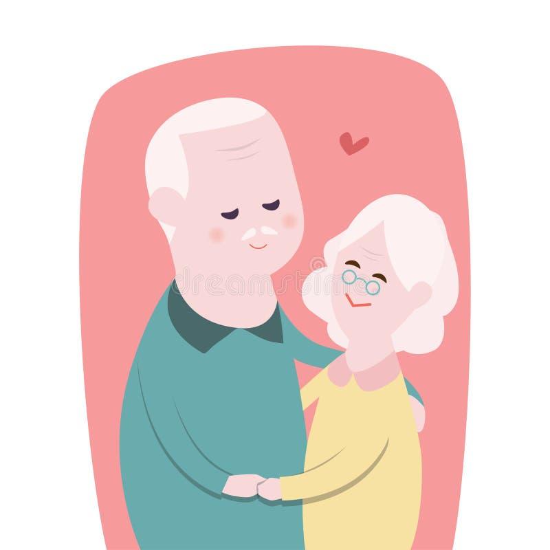 La abuela y el abuelo felices juntan el ` s que abraza y que baila así como la cara smilling, concepto del día de los abuelos libre illustration