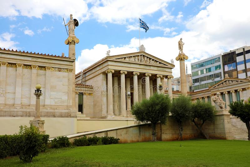 La academia de Atenas, Grecia fotografía de archivo libre de regalías