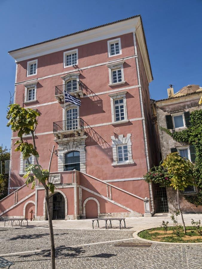 La academia jónica en el isla griega de Corfú fotografía de archivo libre de regalías