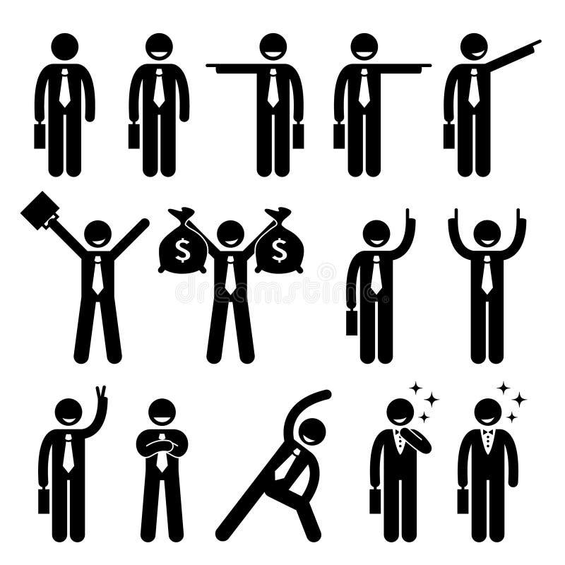 La acción de Business Man Happy del hombre de negocios presenta Cliparts ilustración del vector