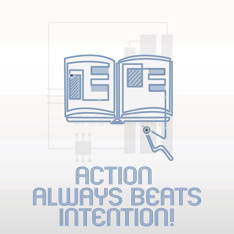La acción de la escritura del texto de la escritura bate siempre la intención El significado del concepto materializado hace que  stock de ilustración