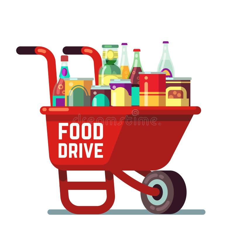 La acción de gracias del banco de la impulsión de la comida y la donación del día de fiesta de la Navidad vector concepto Carreti ilustración del vector