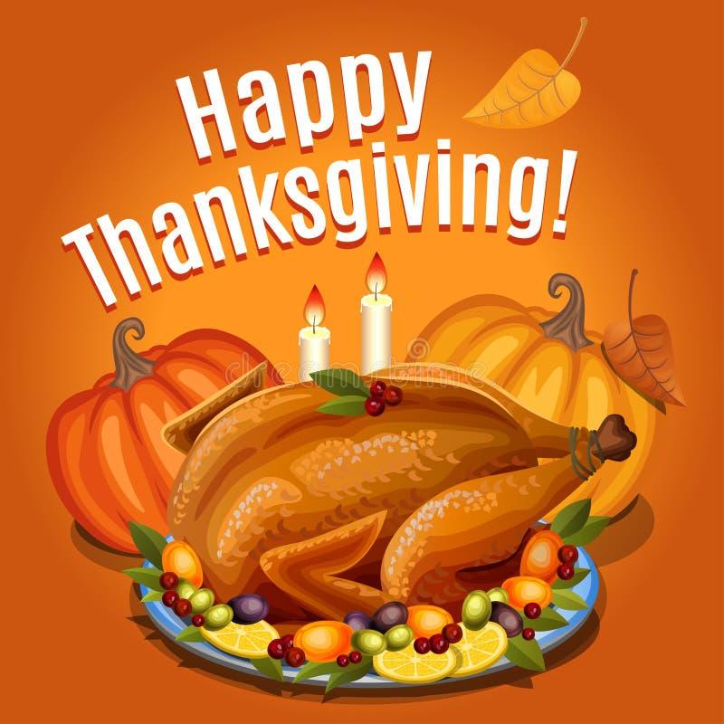 La acción de gracias Turquía en el disco con adorna y calabaza anaranjada, stock de ilustración