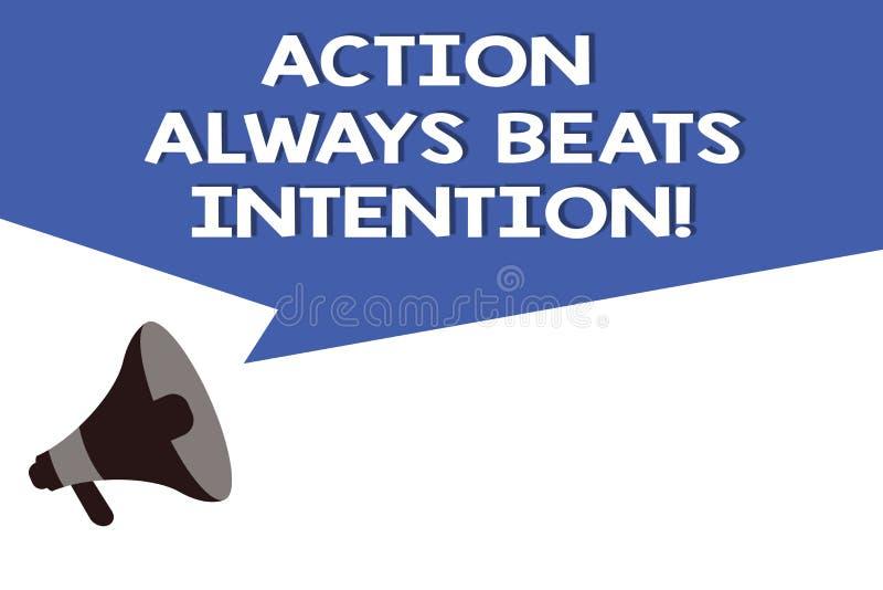 La acción del texto de la escritura bate siempre la intención El significado del concepto materializado hace que sucede acto en é ilustración del vector