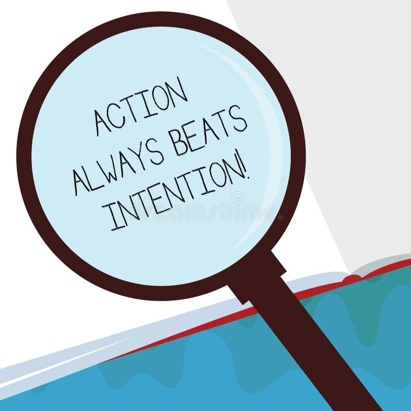 La acción del texto de la escritura bate siempre la intención El significado del concepto materializado hace que sucede acto en é stock de ilustración