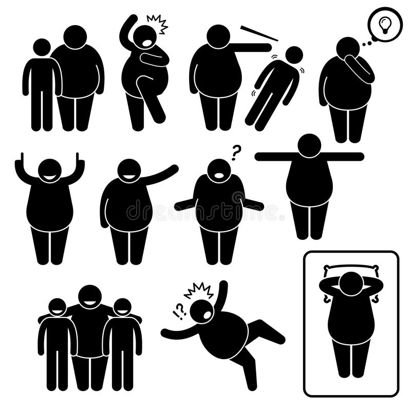La acción gorda del hombre plantea las posturas Cliparts ilustración del vector