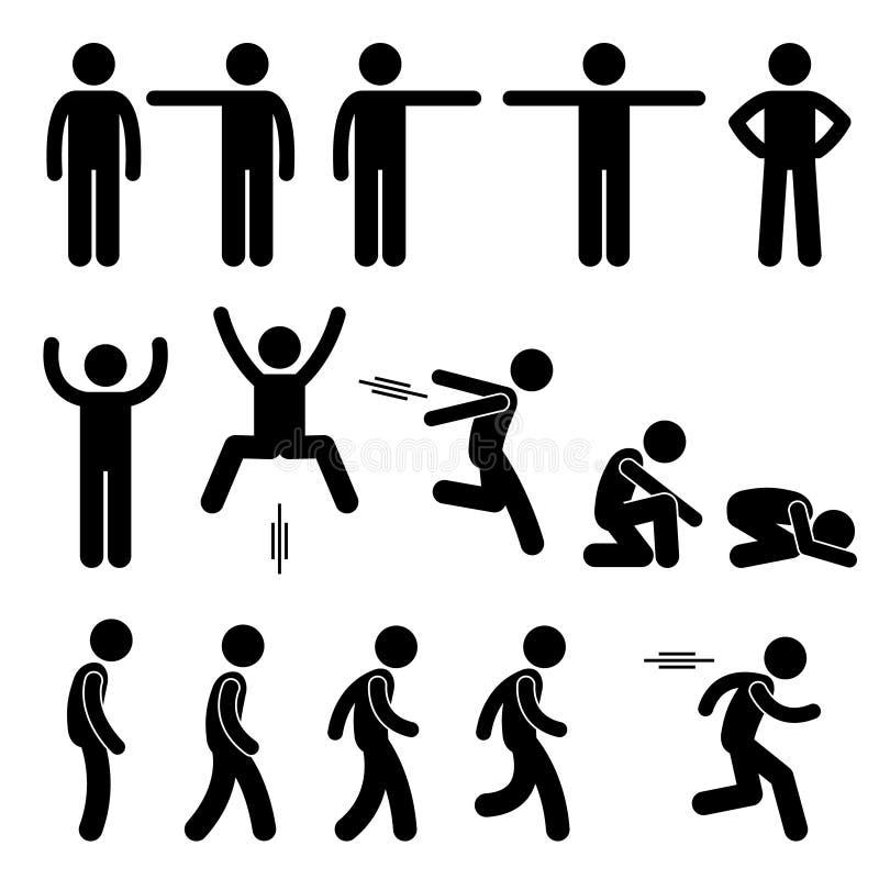 La acción humana plantea iconos de las posturas ilustración del vector
