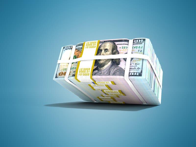 La acción moderna de dólares cayó desde arriba de la representación 3d en fondo azul con la sombra stock de ilustración