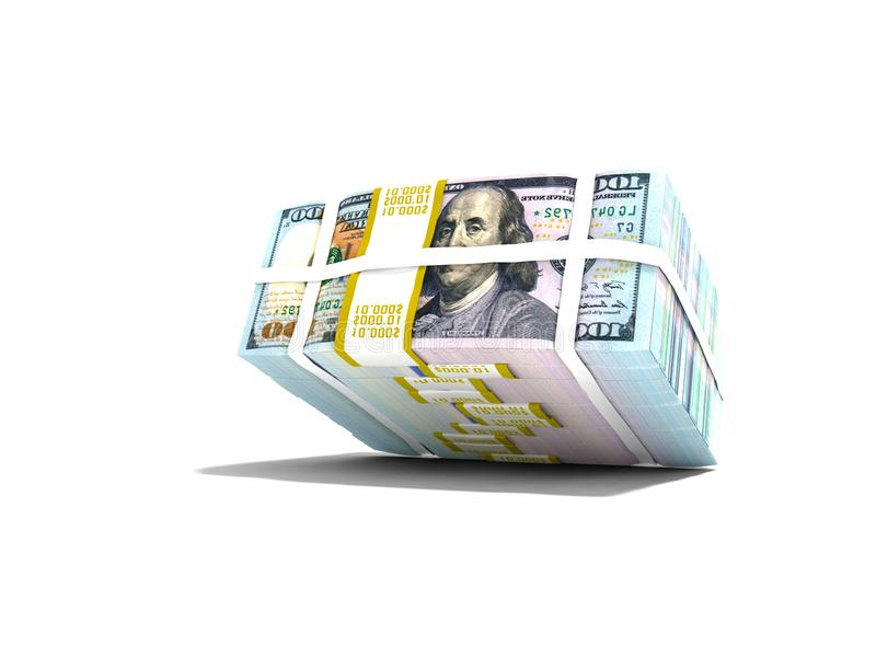 La acción moderna de dólares cayó desde arriba de la representación 3d en los vagos blancos ilustración del vector