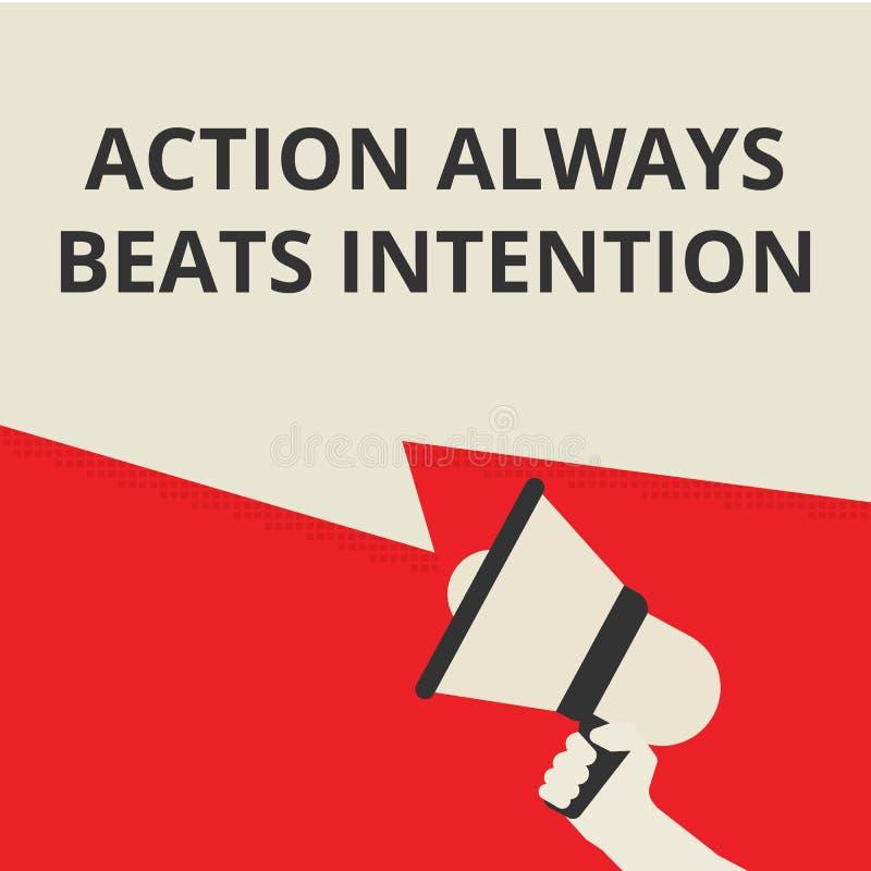 La acción que muestra de escritura conceptual bate siempre la intención ilustración del vector