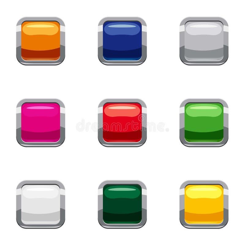 La acción selecta con los iconos del botón fijó, estilo de la historieta ilustración del vector