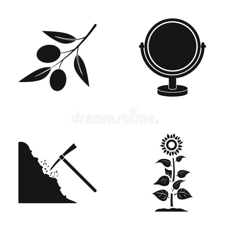 La aceituna, el espejo y el otro icono del web en estilo negro extracción del mineral, iconos del girasol en la colección del sis ilustración del vector