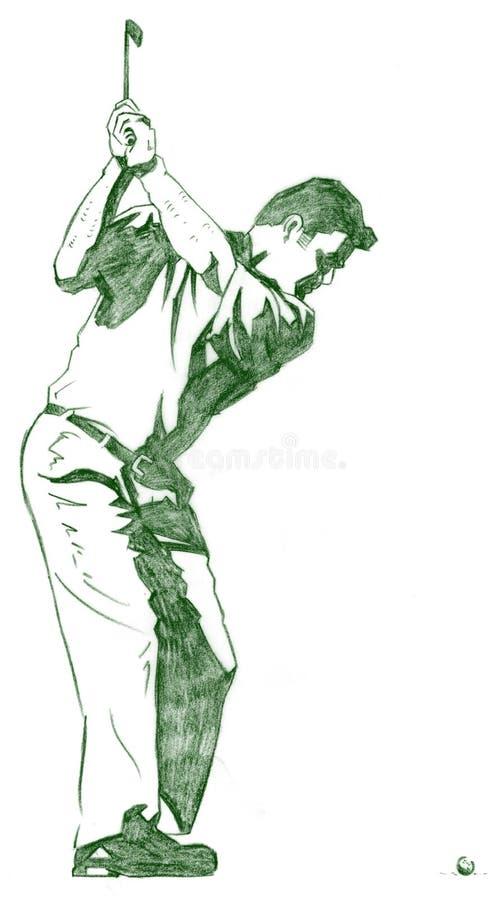 La actitud del oscilación del golf libre illustration