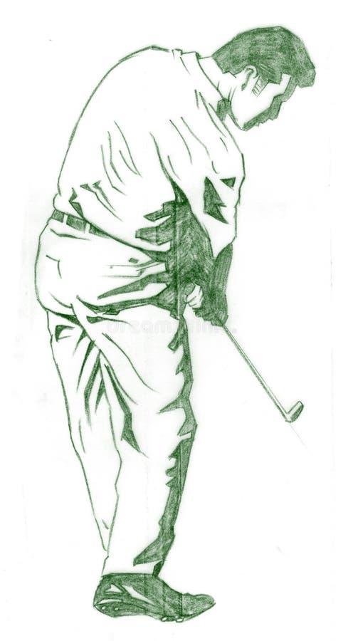 La actitud del oscilación del golf stock de ilustración