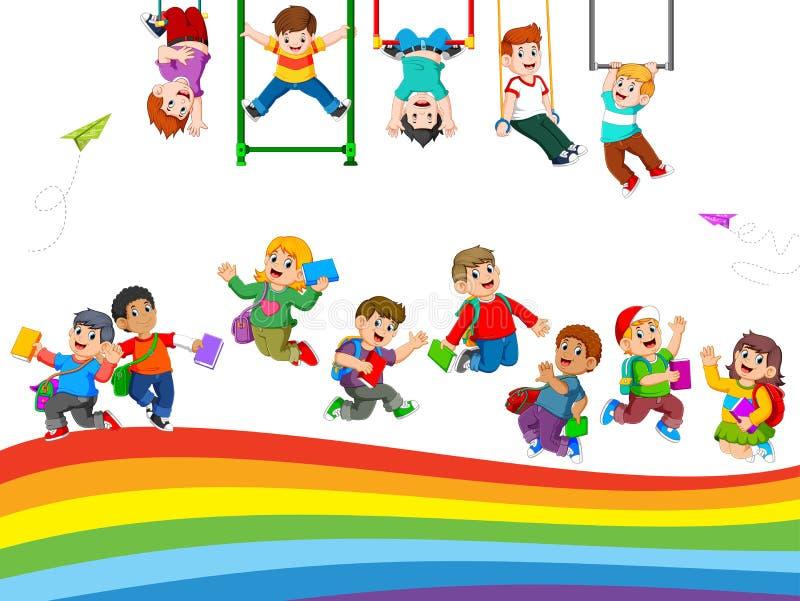 La actividad de los niños y del estudiante cuando están jugando juntos stock de ilustración