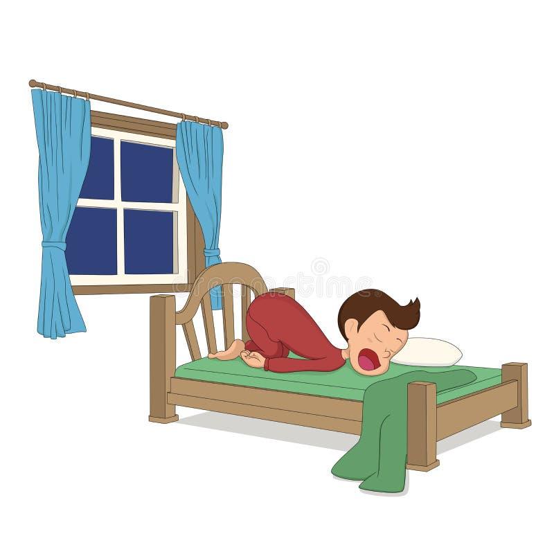 La actividad del niño Un sueño del muchacho en la cama ilustración del vector